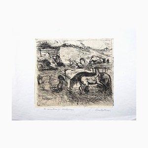 Il Cavallaro di Monte Mario - Original Etching by Luigi Bartolini - 1939 1939
