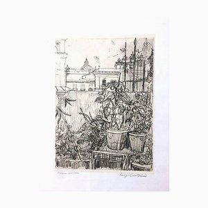 Altana Romana - Original Etching by Luigi Bartolini - 1954 1954