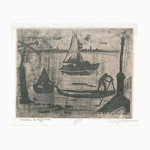 La Laguna di Venezia - Original Etching and Aquatint by Luigi Bartolini - 1951 1951