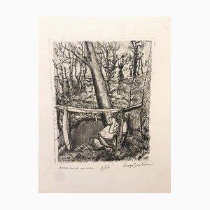 Anna che incide un Cuore - Etching by Luigi Bartolini - 1936 1936