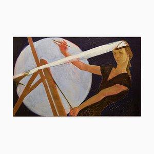 Self Portrait While Painting - Öl auf Leinwand von Anastasia Kurakina - 2010er 2010s