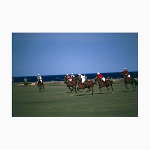 Polo by the Sea Oversize C Print Framed in White by Slim Aarons