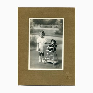 Photo of a Baby Girl by Cauvin Studio - Vintage Photograph - Early 20th century Early 20th century