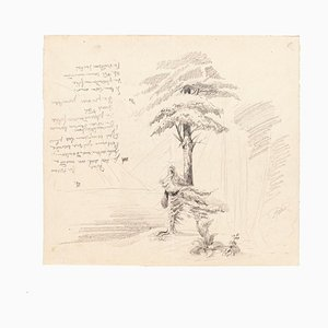 Landscape - Original Drawing in Pencil on Paper - 20th Century 20th Century