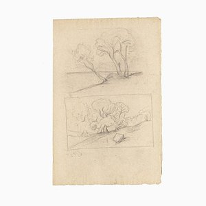 Landscape - Original Drawing in Pencil on Paper - 20th Century Early XX century