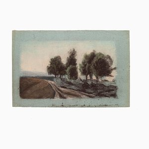 Landscape - Original Drawing in Pastel on Greenish Paper - 20th Century 20th Century