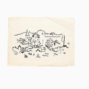 Landscape - Original Drawing in Marker, Felt Tip Pen on Paper - 20th century Mid 20th Century