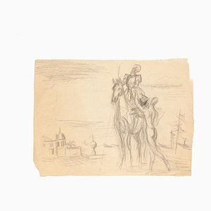 Horseman - Original Drawing in Pencil on Paper - 20th Century XX Century