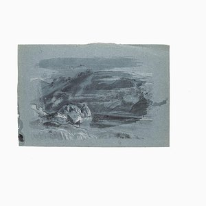 Landscape - Original Drawing in Mixed Media and Pencil on Paper - 20th Century 20th century