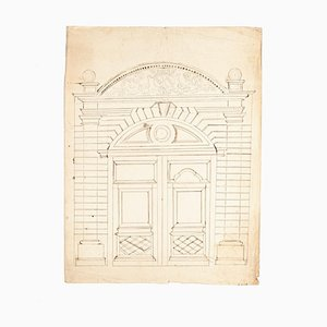 Gate - Original Drawing in Pencil on Paper Realized - 20th Century 20th Century