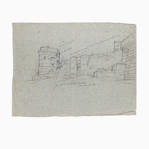 Castle - Original Drawing in Pencil on Paper - 20th Century 20th Century
