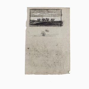 Landscape - Original Drawing in Charcoal and Pencil on Paper - 19th Century 19th century