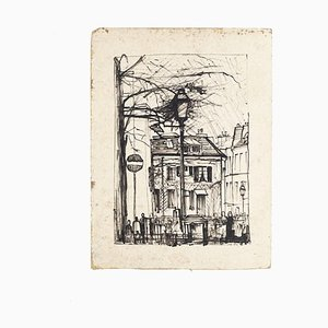 Paris Landscape - Original Drawing on Paper - Mid-20th Century Mid-20th Century