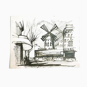 Moulin Rouge - Original China Ink on Paper - 20th Century 20th century