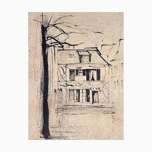Village - Original China Ink on Paper - 20th Century 20th entury