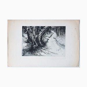 Landscape - Original Etching on Paper - 20th Century 20th century