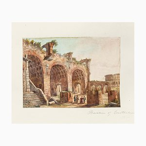 Basilica of Constantine - Original Hand Watercolored Etching - 19th Century 19th Century
