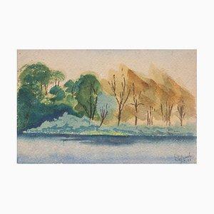 Landscape - Original Watercolor on Paper by Jean Delpech - 1936 1936