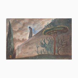 Allegory - Original Watercolor on Paper by Jean Delpech - 1960s 1960s