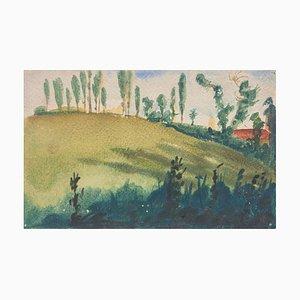 Landscape - Original Aquarell auf Papier von Jean Delpech - 1960er 1960er