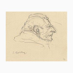 Portrait - Original Bleistiftzeichnung von S. Goldberg - Mid 20th Century Mid 20th Century