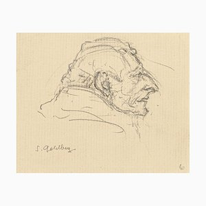Portrait - Original Pencil and Ink Drawing by S. Goldberg - Mid 20th Century Mid 20th Century
