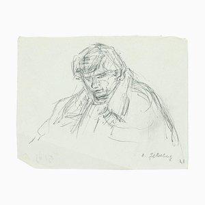 Portrait - Original Pencil Drawing by S. Goldberg - Mid 20th 20th Century Mid 20th Century