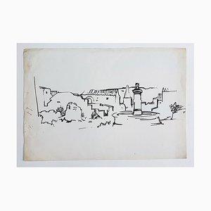 Landscape - Original China Ink on Paper by René Gouast - 1950 1950