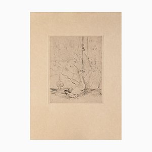 Swan - Original Etching on Paper - 19th Century 19th century