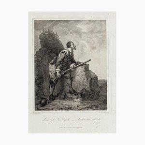 Sentry on the Alert - Original Etching on Paper after I. Bocklund - 1800