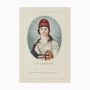 La Liberté - Original Farbiges Radierung - Frühes 19. Jahrhundert 1800