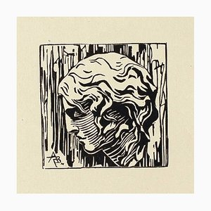 Portrait - Original Woodcut on Paper - 20th Century 20th century