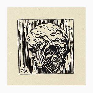 Retrato - Original grabado sobre madera - Siglo XX, siglo XX