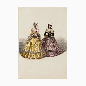 Costume - Original Hand-Colored Lithograph - 19th Century 19th century