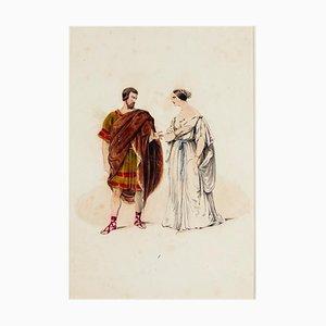 Kostüm - Handbemalte Original Lithographie - 19. Jahrhundert 19. Jh