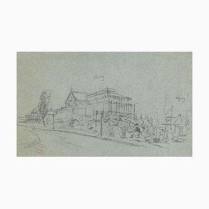 Villa - Original Pencil on paper - 20th Century 20th century