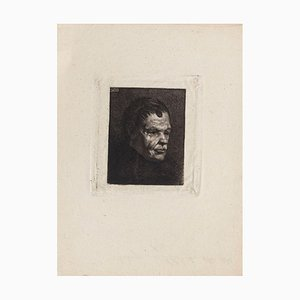 Portrait - Original Etching by Auguste Danse - Late 19th Century Late 19th Century