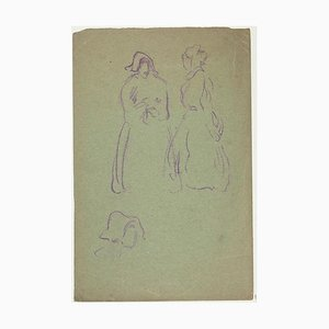 Figures - Original Pastel Drawing by Pierre Léon Dusouchet Late 19th Century