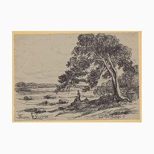 Beach - Original Drawing in Pen by Jeanne le Soudiere - 20th Century 20th Century