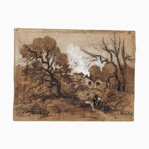 Autumn - Original Drawing in Mixed Media von Jeanne De la Soudiere - 20. Jahrhundert