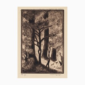 Forest - Original Etching by Henri Farge - 20th century 20th century