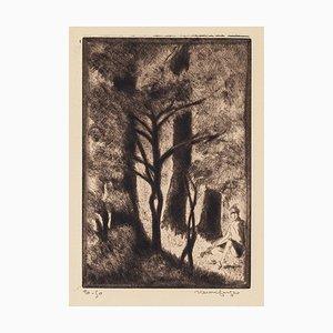 Forest - Original Radierung von Henri Farge - 20. Jahrhundert 20. Jahrhundert