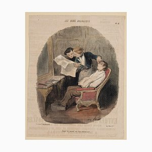 The Good Bourgeois - Original lithograph by Honoré Daumier - 19th century 1800 - 1849