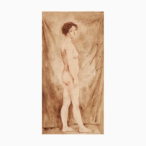 Woman - Original Drawing in Watercolor on Paper - 20th Century 20th entury