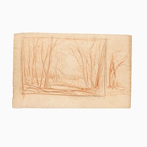 Landscape - Original Drawing in Pencil and Sanguine on Paper - 19th Century 19th Century