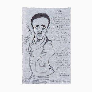 Eclipse (Portrait of Libero De Libero) - China Ink by Corrado Cagli - 1942 1942