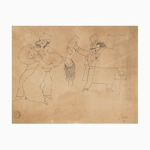 Le Justicier (Monte-Cristo) - Original China Ink Drawing by Jean Cocteau - 1920s 1920 ca.