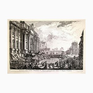 View of Trevi Fountain - Original Etching by G. B. Piranesi - Mid 18th Century Mid 18th Century