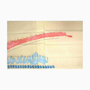 Rosso in Salita - Original Acrylic Paint on Fabric by Giorgio Griffa - 2006 2006