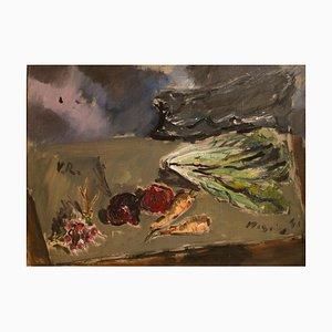 Natura morta con insalata e un mazzo di ravanelli, olio su tela di F. De Pisis-1941, 1941